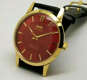 Hmt Sona Super Slim Hand Winding Gold Plated Men's Vintage India Watch free ship