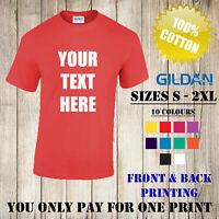 Personalised Custom Printed T Shirts Gildan T-Shirt Men Women Stag Hen Logo Text