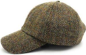 Harris Tweed Brown Herringbone Baseball Adjustable Cap Made in Scotland