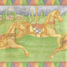 Colorful Carousel Horses - Merry Go Round - Only $9 - Wallpaper Border A142