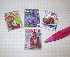 Miniature Magazines (4) Set #17, Various Titles, No Pages Dollhouse 1/12 Scale