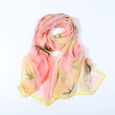 Long Silk Chiffon Scarf Pink Theme Floral Print SCH066