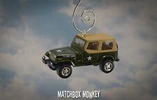 1995 Jeep Wrangler US Army Military Custom Christmas Ornament 1/64 Soft Top