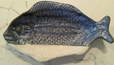 "Studio Pottery Fish Shaped Platter Plate Signed Stoneware 11.5"" Dish Blue White"