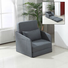 Single Sofa Bed Armchair Soft Floor Sleeper Lounger Futon Couch w/ Pillow and