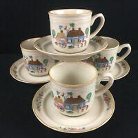 Set of 4 VTG Saucer Plates International Tableworks Heartland Village Rustic 105