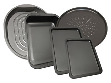 Set Of 5 Carbon Steel Baking Roasting Pizza Non Stick Oven Tray Tin Roasting