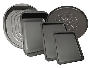 Set Of 5 Carbon Steel Baking Roasting Pizza Non Stick Oven Tray Tin Roasting