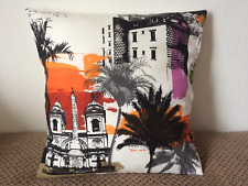 "1 NEW 16"" BUILDINGS AND PALM TREES CUSHION COVER MADE FROM PRESTIGIOUS FABRIC"