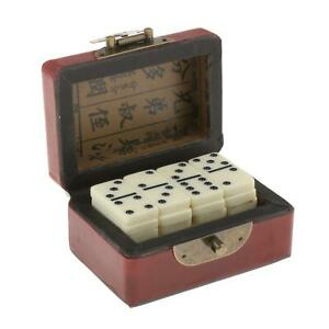 Double Six White with Black Spots Dots Dominoes Game Set 28 Domino Tiles and