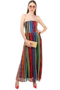 RRP €1470 MISSONI Knitted A-Line Dress Size 42 M Patterned Bandeau Made in Italy