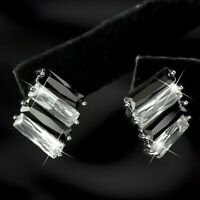 18k white gold made with black clear Swarovski crystal stud earrings fashion