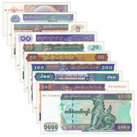 Myanmar Burma 10 PCS Banknotes Collect 50 pyas- 1000 Kyat BUK Real Currency UNC