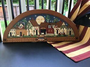 OOAK, New England Prim Folk Art Village Scene Window or Door Topper Painting