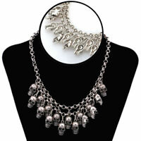 1PC Punk Style Jewelry Statement Bib Chunky Gothic Skull Pendant Necklace New