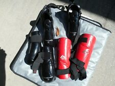 LOT OF 6 MACHO & CENTURY MARTIAL ARTS FEET HANDS ARMS LEGS CHINS PAD RED/BLACK