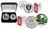 OAKLAND RAIDERS Officially Licensed NFL 2-COIN U.S. SET w/ Deluxe Display Box