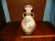 "Vintage 12"" Tall Japanese Moriage Double Handled Porcelain Vase"