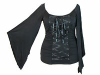 Black Stretchy Lace Up Gothic Vampire Corset Jersey Top S M L XL 1X 2X Plus Size