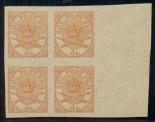 DENMARK #13a 4sk Coat of Arms, NH, Imperf Corner Block of 4, Moller certificate