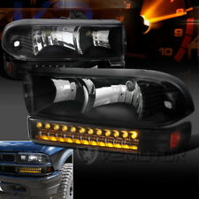 1998-2004 Chevy S10 Blazer Black Clear Headlights+LED Bumper Signal Lights Pair