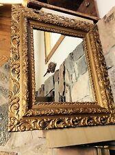 ANTIQUE LARGE 19TH C. ROCOCO ITALIAN  BAROQUE 3 D GILDED MIRROR  27 X 30 INCH
