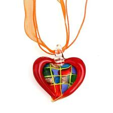 Charm Heart Lampwork Glass Murano Bead Crystal Pendant Ribbon Cord Necklace F3=G