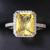3.25 Ct Princess Yellow Citrine Ring Women Jewelry Gift 14K White Gold Plated