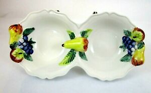 """Italian Hand Painted 10"""" Porcelain Scallop Divided Dish High Relief Pears Grapes"""