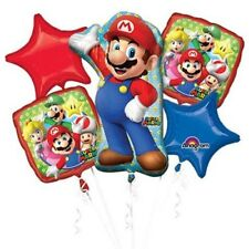 5 Piece Super Mario Brothers Foil Mylar Balloon Bouquet Party Decorating Supplie