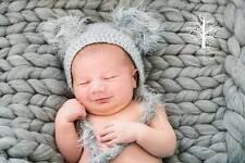 Trama grossa Grigio Merino Baby COPERTA NEONATO FOTOGRAFIA PROP CESTO FILLER UK