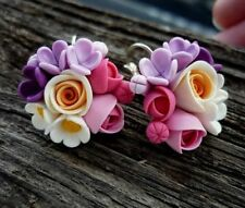 HANDCRAFTED cute Fashion polymer clay Fimo PRETTY flower rose EARRINGS! HANDMADE