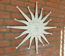Wanddeko Sonne weiß 60 cm Ornament Skulptur Garten Eisen Wandbild Bild Terrasse