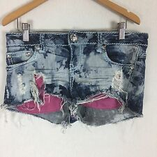 ZD Womens Jean Shorts 9 Acid Wash Distressed Cutoff Daisy Duke Destroyed H25