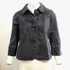 Gorgeous Grey Black Cotton 3/4 Sleeve Jacket from Per Una M&S - Size 10 - Fab