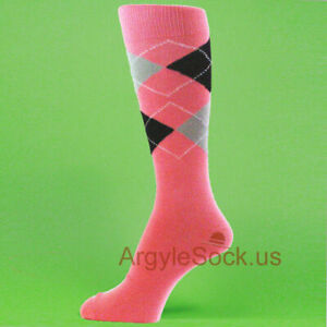 XL Pink / Light Gray / Navy  Men's Groomsmen Wedding Argyle Dress Socks -MA028