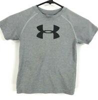 Under Armour Shirt Kids Size 4T Gray Heat Gear Short Sleeve Logo Front