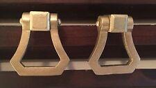 New Set 6 GOLD TRIANGLE RING Pull Knobs Swivel Hardware Modern Retro Brass