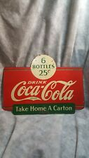 Vintage 2-Sided Drink Coca-Cola 6 Bottles 25 Cents Metal Coke Rack Sign 1938!!!