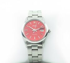 Rolex ♛ Men's Stainless Steel Precision Date Automatic Watch w/ Red Dial 6694