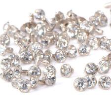 100pcs White Crystal Rhinestone Diamante Studs DIY Punk Leathercraft Rivets 7mm