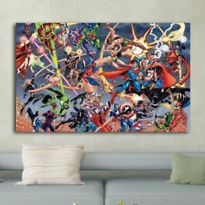 Marvel Comics Vs DC Comics HD Print on Canvas Home Decor Room Wall Art Picture