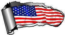 LRG Ripped Open GASH Rip Torn Metal American Stars & Stripes US Flag Car Sticker