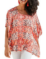 Ladies Coral Patterned Loose Tunic Top Batwing Sleeves in UK Plus Sizes 14-32