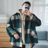 Plaid Shirt Men Fashion Casual Loose Wool Jacket Coat Man New Streetwear Male...