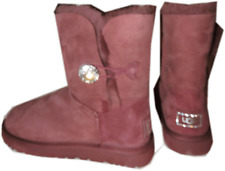 UGG Australia Crystal Bailey Button Boot Fur Lined Shoe 8- 39 in Port NEW