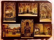 GRANADA SPAIN LOT OF 33 POSTCARDS GLUED TO 4 ALBUM PAGES ALHAMBRA TOLEDO 1920'S