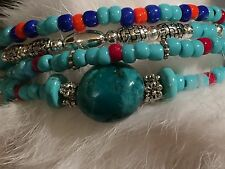 CHOCTAW Native Turquoise Nugget, Silver Seed Bead Beaded Wrap Bracelet  USA