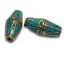 Turquoise Brass Bicone 2 Beads Tibetan Nepalese Handmade Tibet Nepal Bd3218