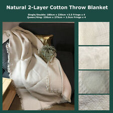 Textured Natural 2-Layer Cotton Throw Blanket Jacquard Woven Reversible Fringed